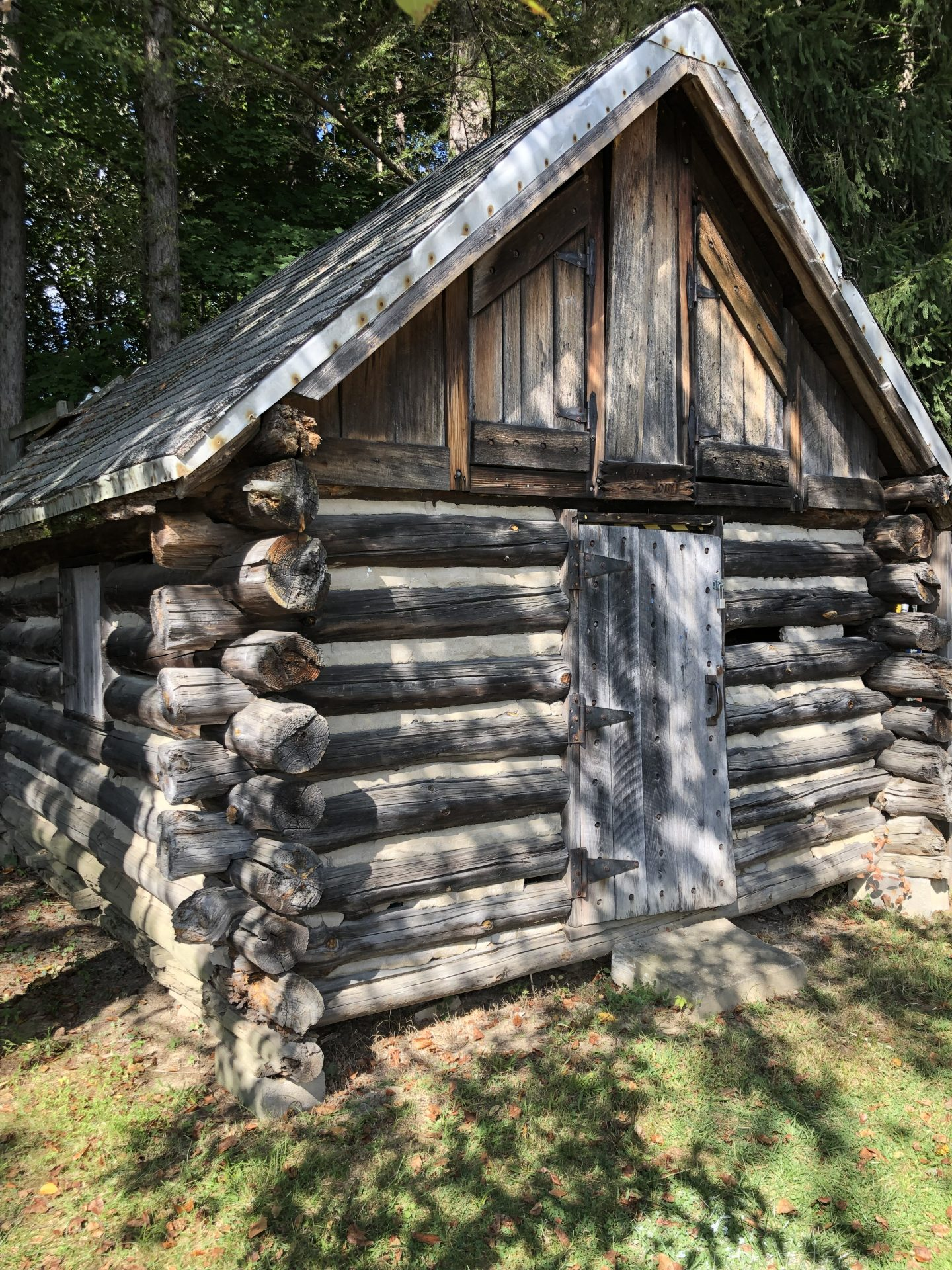 The log cabin pictured here was built in 1976, using tools and methods from 1776 to mark the American Bicentennial