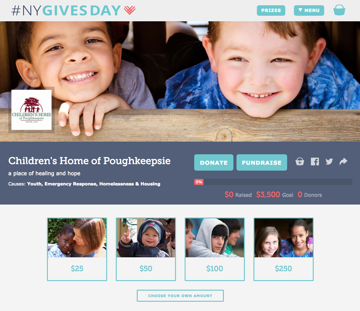 photo of NY Gives Day Children's Home fundraising page