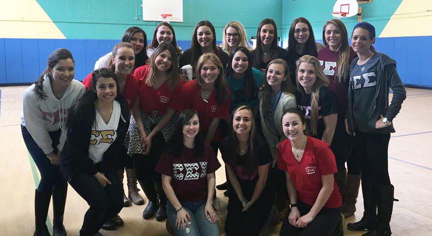 photo of tri sigma sorority in the gym
